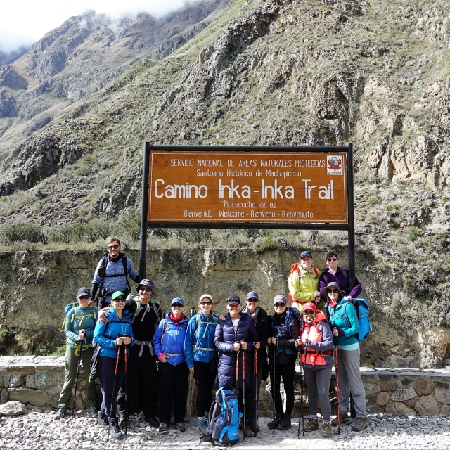 Our trekking group at the start of the Inca Trail - KM 82.